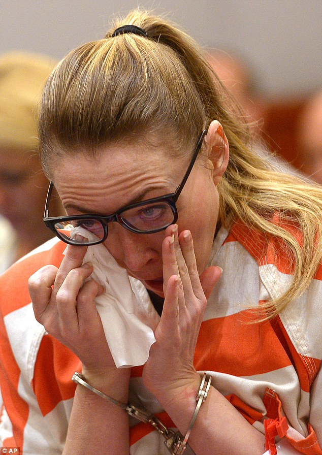 Brianne Altice wipes her eye as she appears in court during her sentencing on Thursday