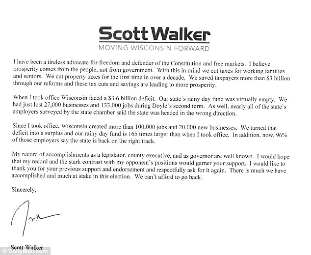 Contrast: This was the letter Scott Walker wrote seeking the support of Wisconsin Family Action in which he said he wanted a constitutional amendment to secure marriage as between 'one man and one woman'