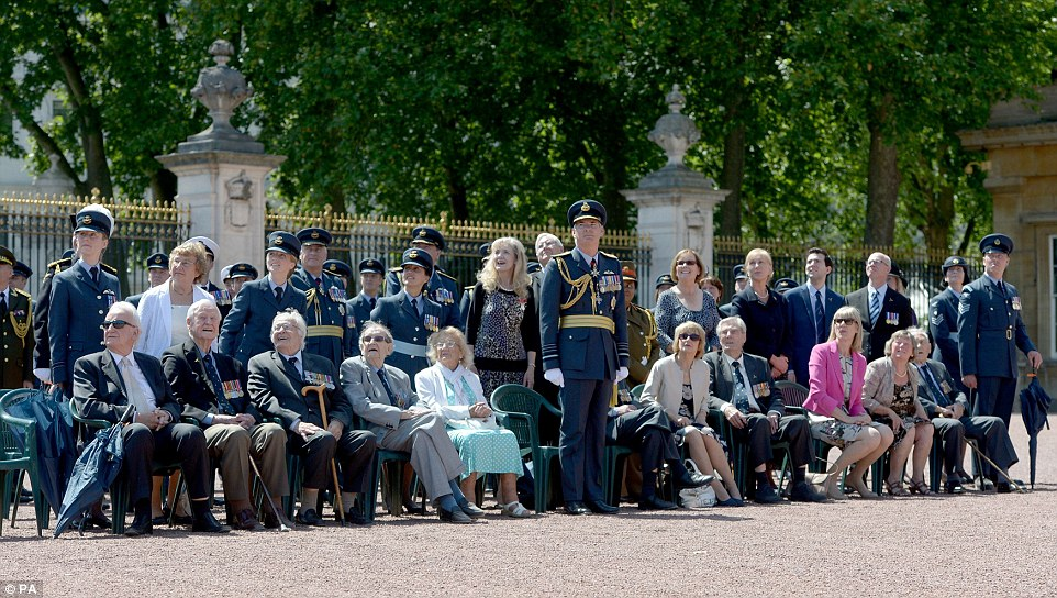 Battle of Britain veterans were joined by their families and serving members of the RAF to watch the fly-past over central London