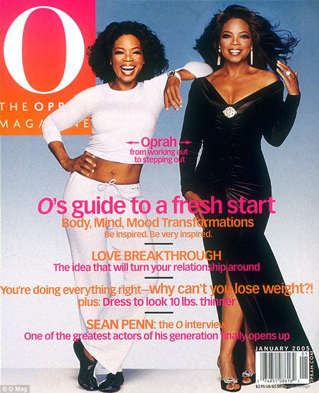Trim and toned: In this O Magazine cover from 2005, Oprah was 160 pounds and showed off her taut tummy in a light blue crop top