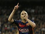 Football - Real Madrid v Barcelona - Liga BBVA - Santiago Bernabeu - 21/11/15  Andres Iniesta celebrates after scoring the third goal for Barcelona  Reuters / Sergio Perez  Livepic