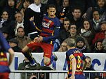 Barcelona's Neymar celebrates after scoring his sideís second goal during the first clasico of the season between Real Madrid and Barcelona at the Santiago Bernabeu stadium in Madrid, Spain, Saturday, Nov. 21, 2015.  (AP Photo/Francisco Seco)