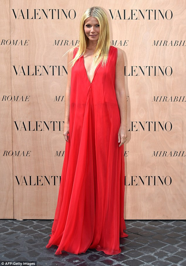 Red-dy for the show: Later on in the evening, Gwyneth led the A-list guests at the Valentino Haute Couture Fall-Winter fashion show in the Italian capital city