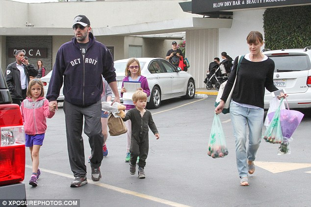 A source tells the DailyMail.com that Ben is there to try to ensure Jen and him remain a family even if they are getting divorced, for the sake of their kids: nine-year-old Violet, six-year-old Seraphina and three-year-old Samuel (pictured on June 14)