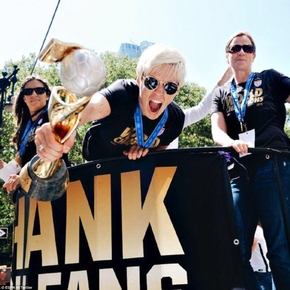 Rapinoe had her moment with the trophy as well and she didn't let it go by without making the most of it