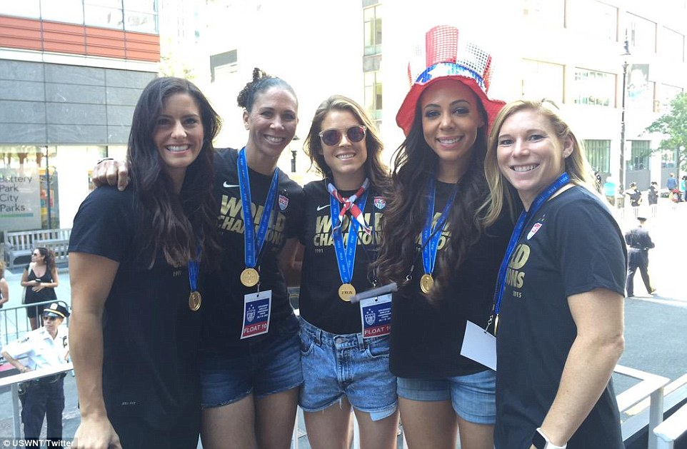 Ali Krieger, Shannon Boxx, Kelley O'Hara, Sydney Leroux Dwyer and Lori Chalupny (L-R) were on hand for the victory parade in NYC
