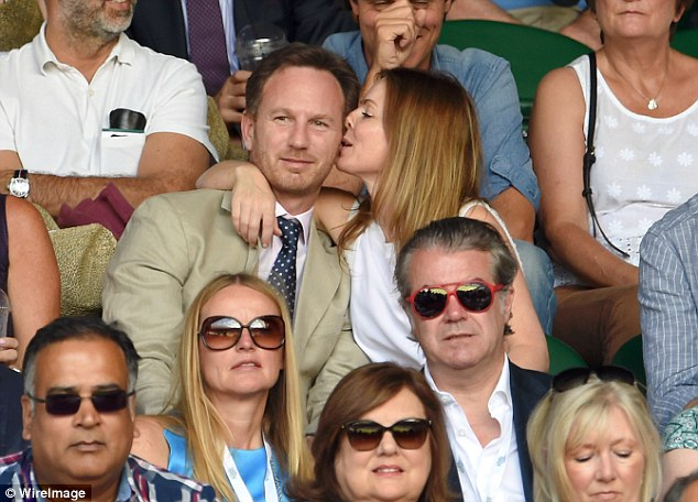Get a room! Geri Halliwell packed on the PDA with husband Christian Horner as they sat courtside at the Wimbledon semi-finals on Friday afternoon