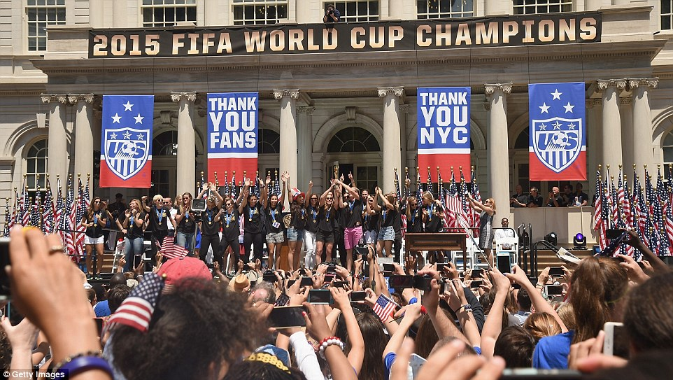 It was a wild scene at the end of the parade route at City Hall after the championship team, the mayor and governor all arrived