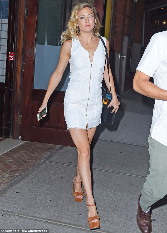 Hot mama: Kate Hudson showed off her sculpted legs in a sexy mini dress in New York City Thursday night