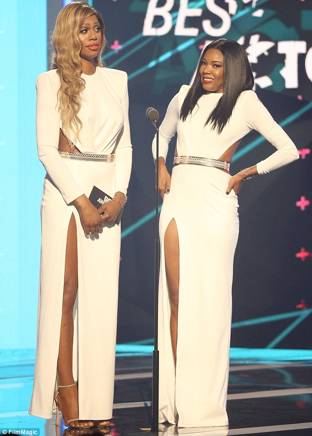 A score draw: Opinion was divided on whether Gabrielle had worn this dress better than transgender actress Laverne Cox at the BET Awards
