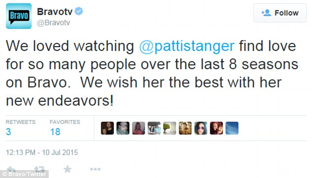 Patti's statement was confirmed by Bravo with a tweet: 'We loved watching Patti Stanger find love for so many people over the last 8 seasons on Bravo. We wish her the best with her new endeavors'
