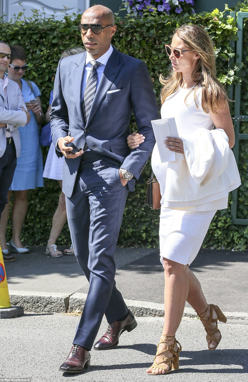 Picture perfect: Henry and his girlfriend Rajacic looked well-coordinated as they arrived at the legendary south west London venue