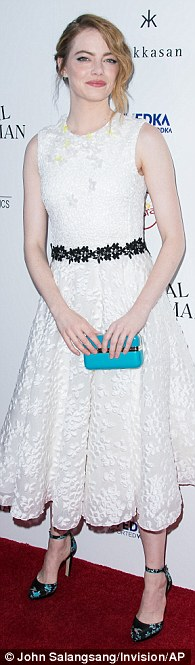 All in the details: The on-off again girlfriend of actor Andrew Garfield drew attention to her petite figure with the black lace ribbon around her torso