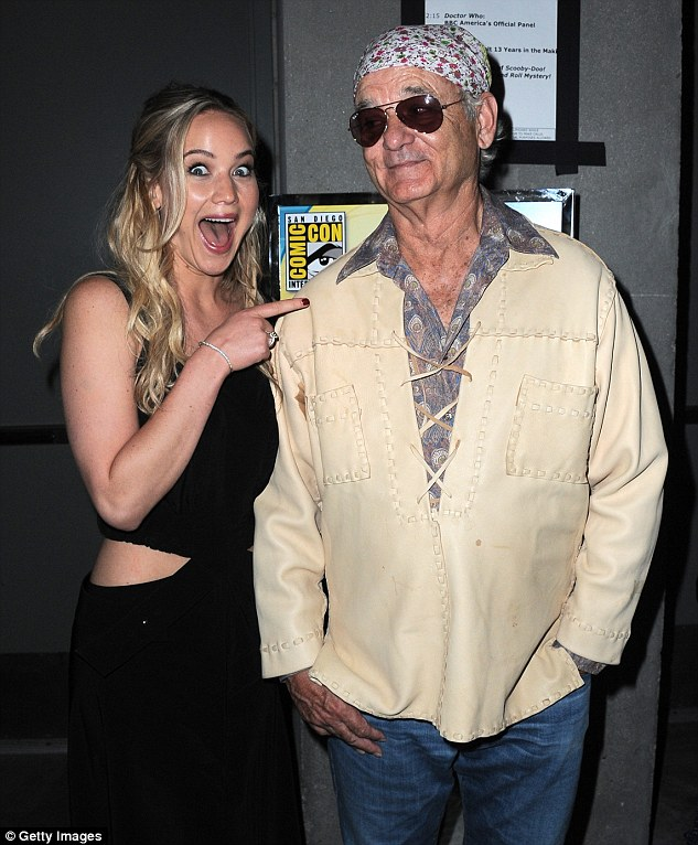 Fan girl!Enjoying every moment of the convention, the Oscar winner could not contain her excitement when she bumped into popular Hollywood actor Bill Murray