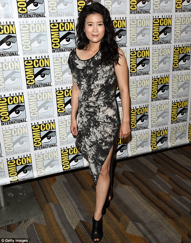 Pretty in patterns: The Canadian actress rocked an asymmetrical black and grey patterned number