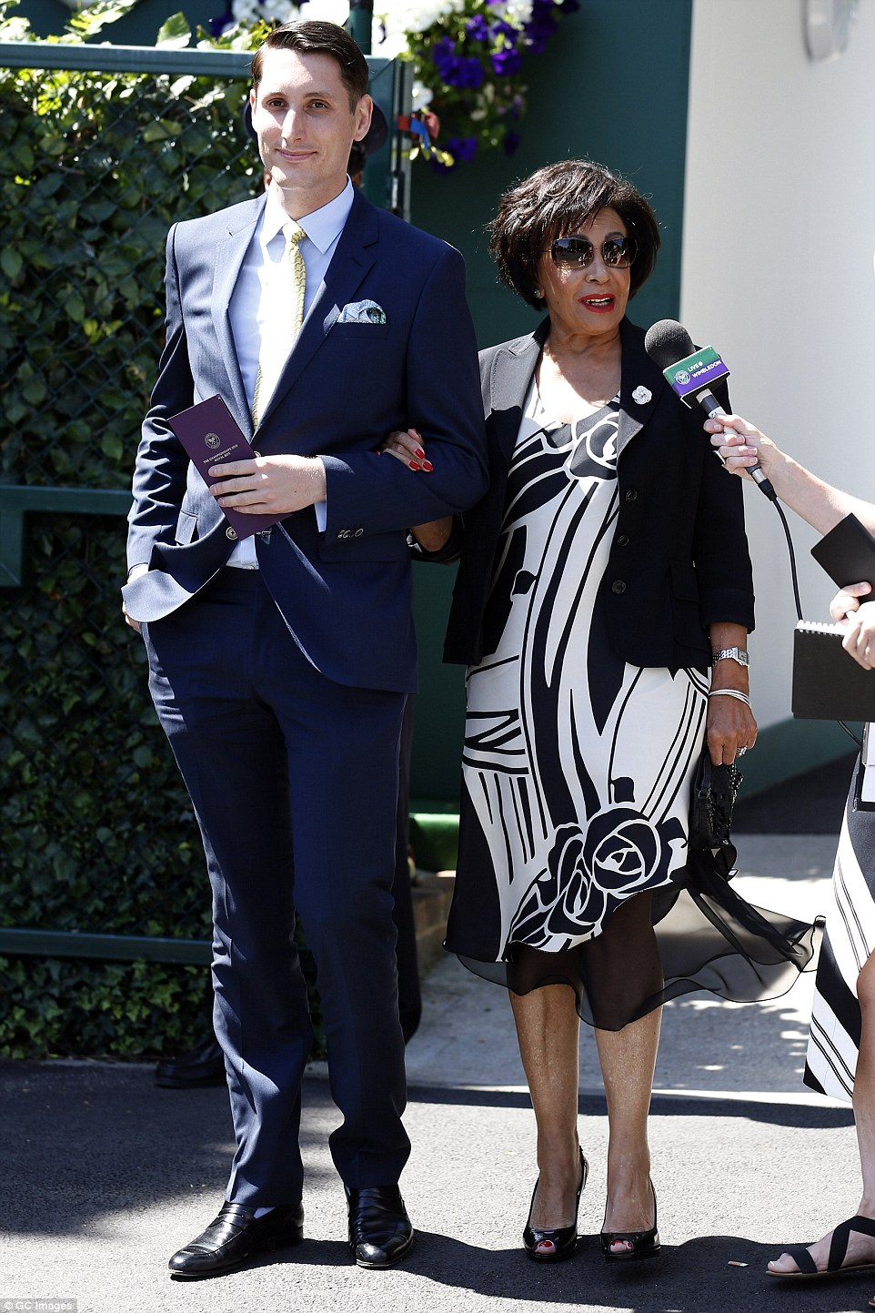 Singing sensation:Dame Shirley Bassey was seen getting escourted to the All England Lawn Tennis Championships