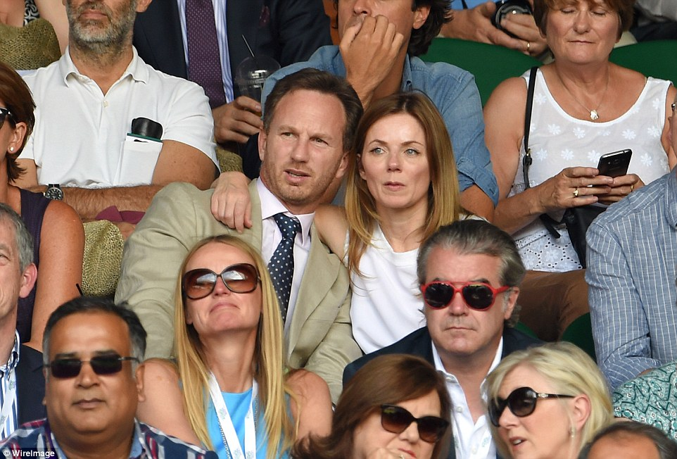 Ace couple: NewlywedsChristian Horner and Geri Halliwell soaked up the balmy climes at Wimbledon on Friday