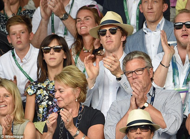 Cheering on: The couple showed their appreciation for the two tennis talents by applauding