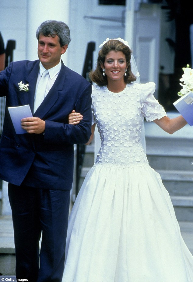 American Royalty:Caroline Kennedy donned a silk organza ballgown designed by Carolina Herrera when she and Edwin Schlossberg tied the knot near Hyannis Port, Massachusetts in 1986
