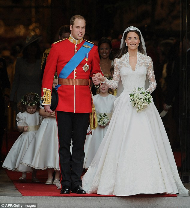 Perfect couple: Kate became the Duchess of Cambridge when she wed Prince William atWestminster Abbey in 2011