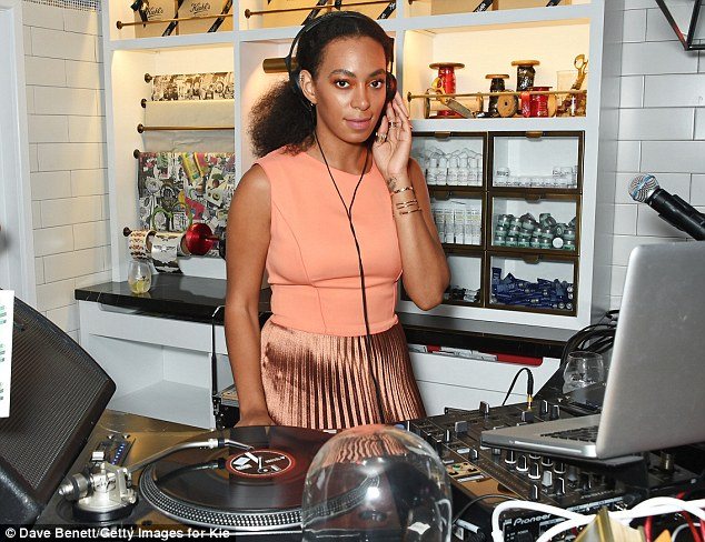 Not missing a beat: The 29-year-old provided the entertainment for the evening from behind the decks