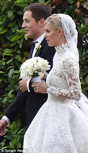 Imitation game: Both Nicky and Grace donned long-sleeve lace gowns featuring high-necks when they marriedJames Rothschild (pictured) andPrince Ranier III, respectively