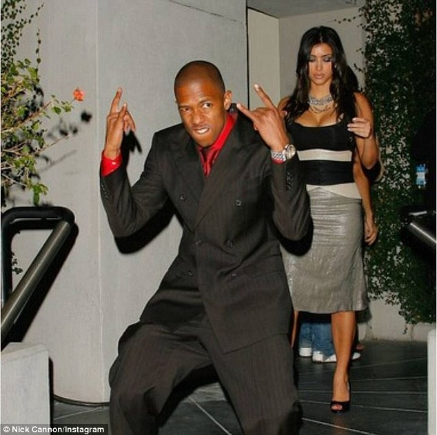 Throwback: Nick Cannon, 34, took to Instagram on Thursday to share a snap of him and his long-ago ex, Kim Kardashian. The Wild N' Out creator captioned the photo: '#tbt Kim look like she was so over my Bullshit here LOL. What's your caption for this old school shot?'