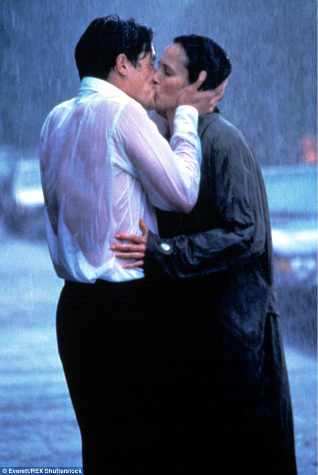 The real thing: The actual scene in the movie comes towards the end as the estranged lovers profess their love for each other and proceed to kiss in the pouring rain