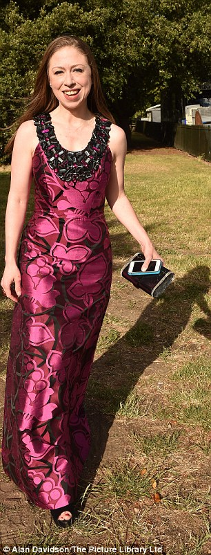 Chelsea wore a floor-length floral dress with peep-toe platforms and a Lucite clutch