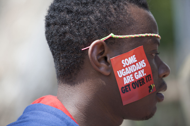 FILE - In this Saturday, Aug. 9, 2014 file photo, a Ugandan man is seen during the third Annual Lesbian, Gay, Bisexual and Transgender (LGBT) Pride celebrati...