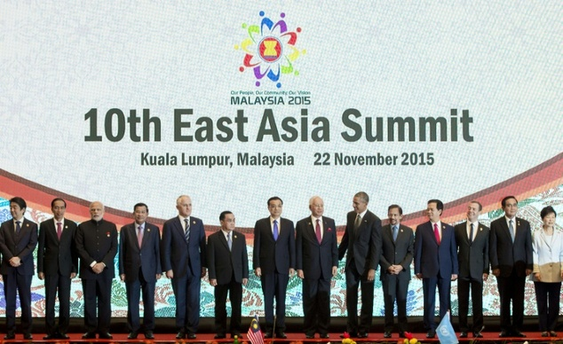 Leaders participate in a family photo during the East Asia Summit at the Kuala Lumpur Convention Centre on November 22, 2015