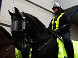 LONDON, ENGLAND - NOVEMBER 22: Police on horseback patrol outside the ground prior to the Barclays Premier League match between Tottenham Hotspur and West Ham United at White Hart Lane on November 22, 2015 in London, England.  (Photo by Clive Rose/Getty Images)