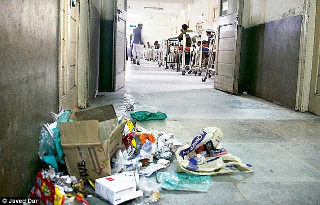 Sanitary conditions? Heaps of garbage adjacent to wards in Kashmir's premier hospital (SMHS) lay uncollected during a strike in Srinagar