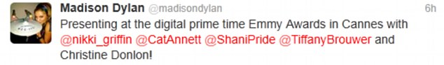 Things to do: Dylan tweeted that she would be presenting at Digital Prime Time Emmy Awards