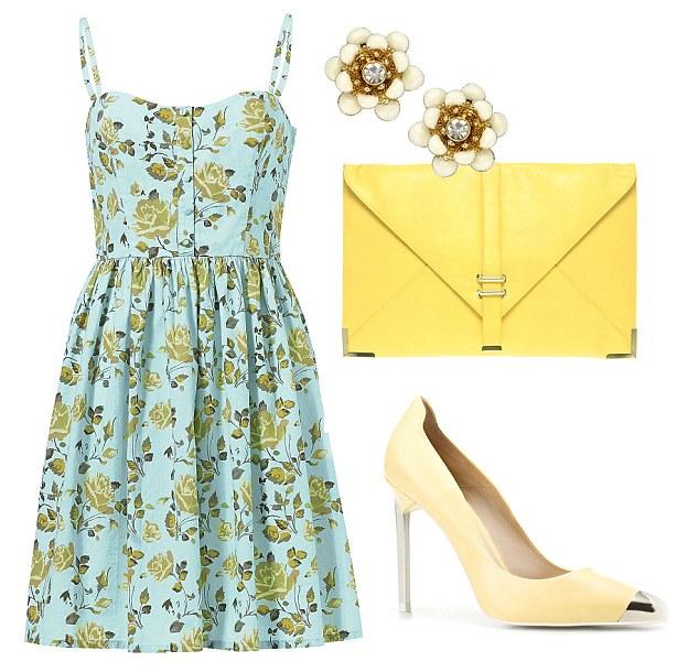 Dress, £36, littlewoods.com Clutch bag, £20, asos.com Courts, £69.99, zara.com Flower stud earrings, £5, monsoon.co.uk