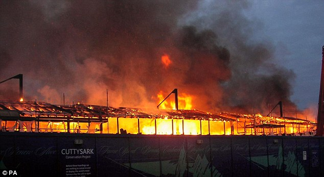 Burnt to a cinder: The 19th-century ship suffered serious fire damage at its dry dock location in Greenwich during 2007