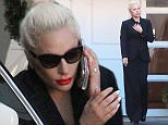 UK CLIENTS MUST CREDIT: AKM-GSI ONLY EXCLUSIVE: Beverly Hills, CA - Lady Gaga spends the afternoon at Epione Cosmetic Laser Center in Beverly Hills. The singer emerged from the building with no makeup or eyebrows, after four hours only to speak briefly to her bodyguards before going back inside.