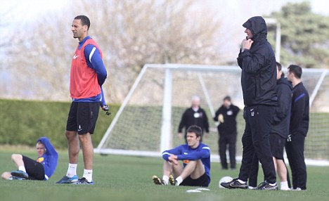 In the cold: The United squad feel the chill at the Scotland base