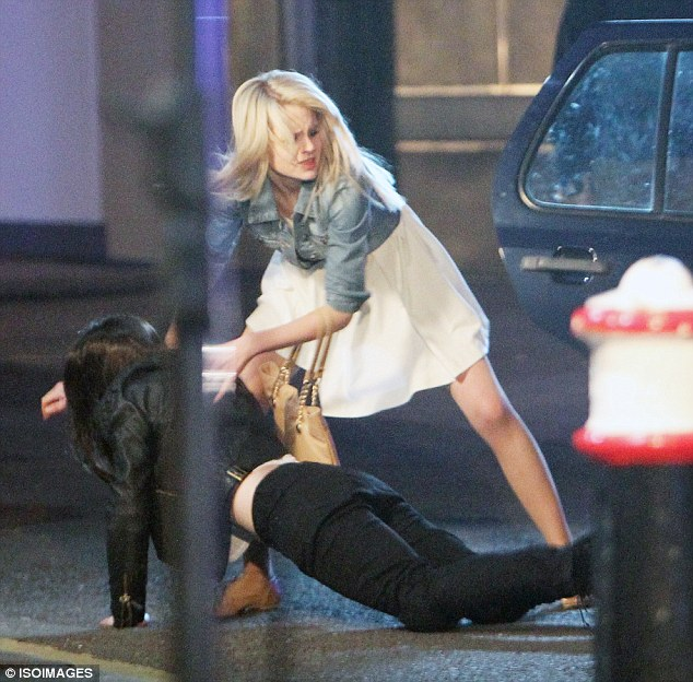 In the nick of time: Lucy, played by Hetti Bywater, manages to rescue Lauren as the car is forced to stop at traffic lights