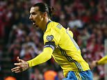 Zlatan Ibrahimovic of Sweden celebrates scoring his goal to make it 0-2 during the UEFA EURO Qualifiers Second playoff round match between Denmark and Sweden played at the Telia Parken Stadium, Copenhagen on November 17th 2015