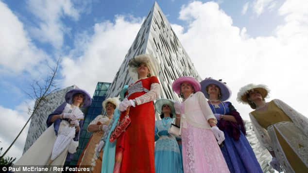 Affecting: Women in period costume at the Belfast centre recall the maiden voyage of the ill-fated passenger liner, which hit an iceberg in the Atlantic on the night of April 14, 1911