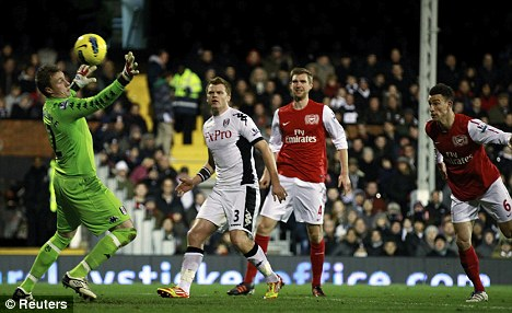 Top stopper: But David Stockdale couldn't keep out Laurent Koscielny's header