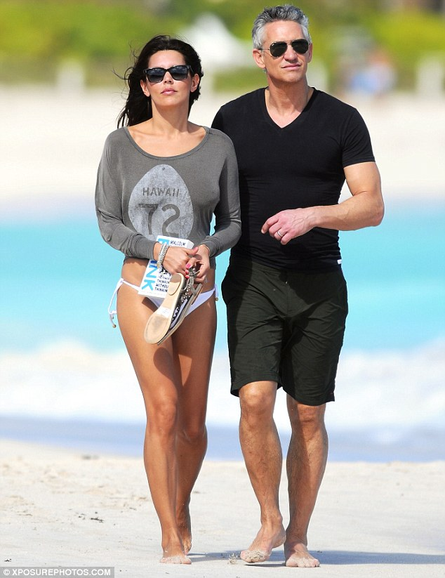 Enjoying the sun: Gary and his wife enjoyed a walk on a beach in St Barts on bank holiday Monday