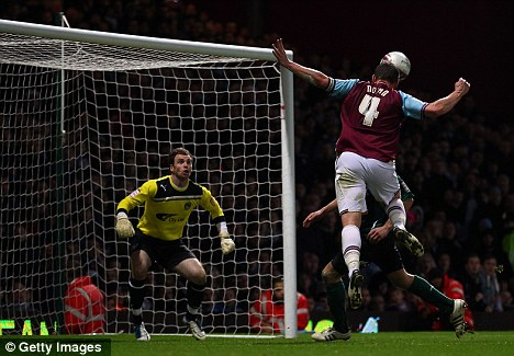 Head boy: West Ham midfielder Kevin Nolan scores the only goal of the game