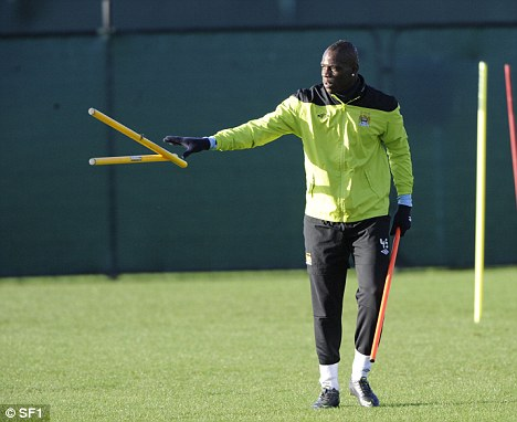 On the mend: Mario Balotelli could play for Manchester City against Liverpool