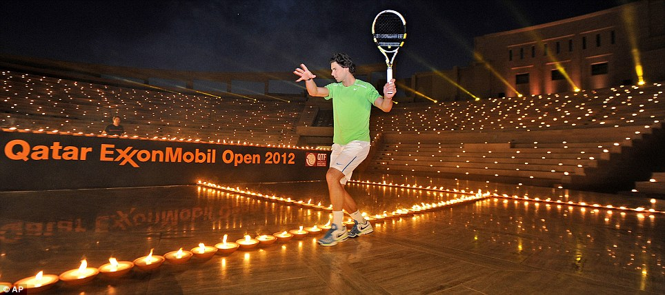 Rafael Nadal at an exhibition in Doha ahead of the Qatar ExxonMobil Open