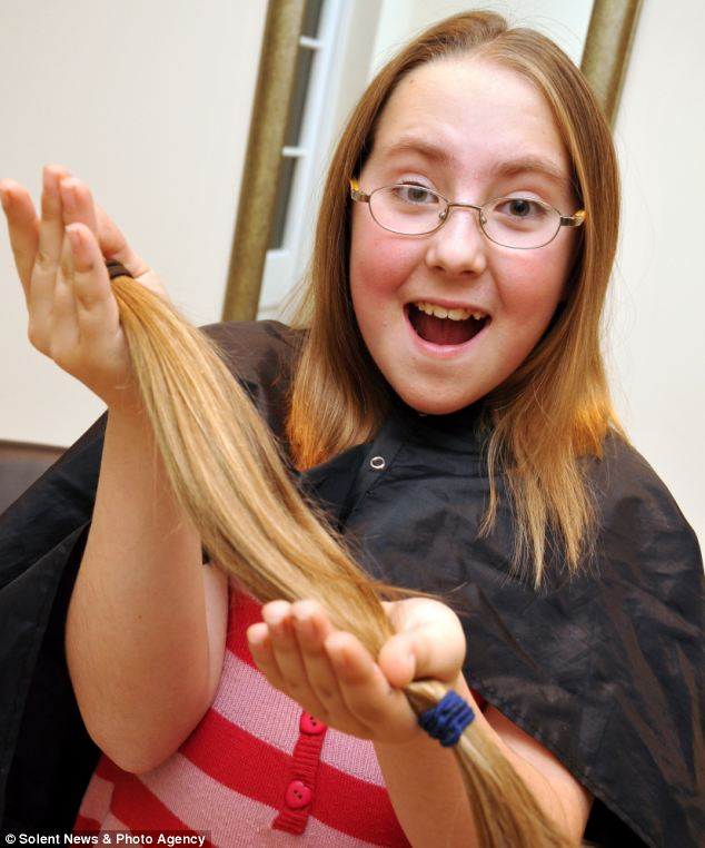 Sam Croombs had 19 inches of hair chopped off to make wigs for children with cancer