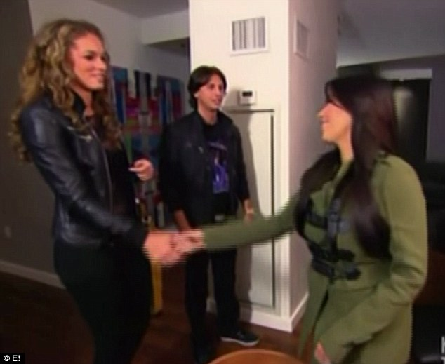 Nice to meet you: Kim introduces herself to Jonathan's lady friend