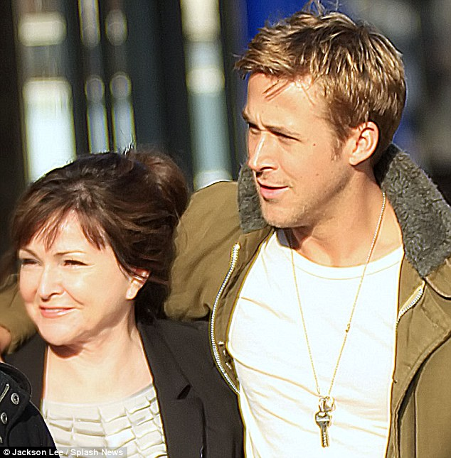 Doubleact: Ryan Gosling and his lookalike mother Donna were spotted out and about today in New York