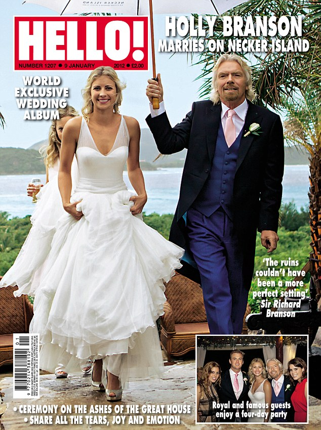 Stunning: Photographs of Holly Branson's stunning wedding, which took place on her father Sir Richard's private Necker Island, appear in this week's edition of Hello! magazine